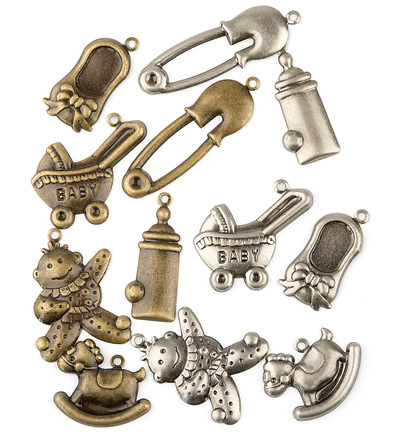 Charms 1008 Baby assorti brons zilver