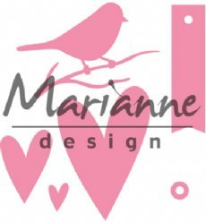 Marianne Design mallen COL1443 Bird Hearts and Tag