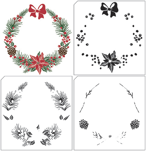 Nellies Choice stempels LCS005 Christmas Wreath