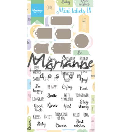 Marianne Design mallen en stempels CS1029 Mini Labels