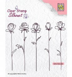 Nellies Choice stempels SIL042 5 Flowers