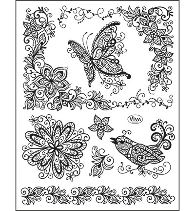 Viva Decor stempels 6976 Scribbled Butterfly
