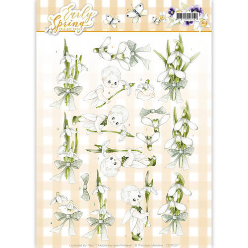 Marieke ES CD11027 3d knipvel Early Snowdrops