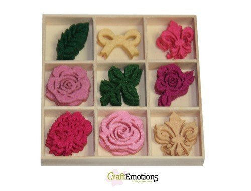 CraftEmotions Vilt Box 0161 Ornament roses