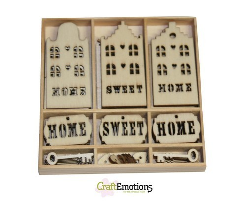 CraftEmotions Houten Box 0215 Home Sweet Home
