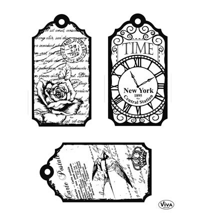 Viva Decor stempels 7031 Tags Clocks