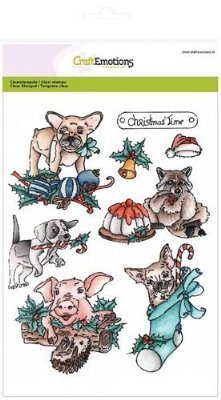 CraftEmotions stempels 3101 Christmas Pets 1