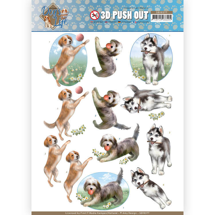 Amy Design DL SB10377 3d Uitdrukvel Playing Dogs