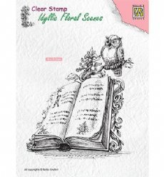 Nellies Choice stempels IFS013 Book w/ Owl
