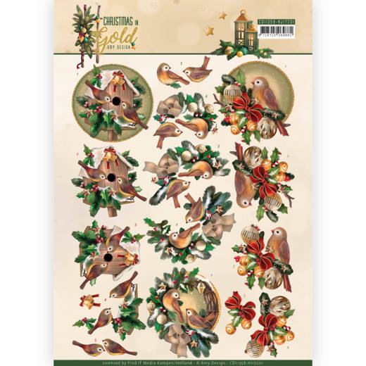 Amy Design CG CD11358 3d knipvel Birds in Gold