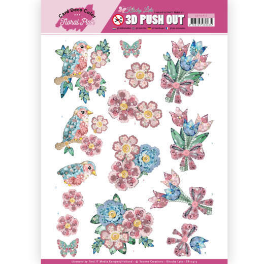 3D Pushout - Yvonne Creations - Floral Pink (Kitschy Lala) - Kitchy Flowers