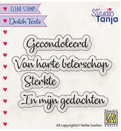Nellies Choice stempel Dutch texts, Gecondoleerd etc..