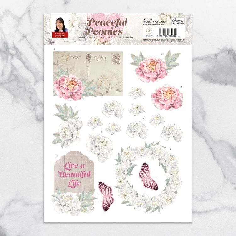 Peonies & Postcards A4 Decoupage Sheet