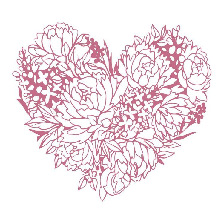 Floral Heart Mini Stamp (1pc)