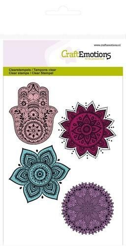 CraftEmotions clearstamps A6 - hand, bloem ornament Happiness