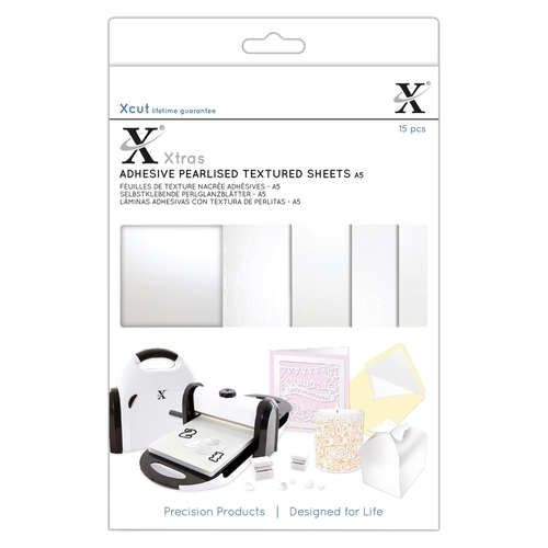 Xcut Xtras' A5 Adhesive Pearlised Textured Sheets (15pcs)