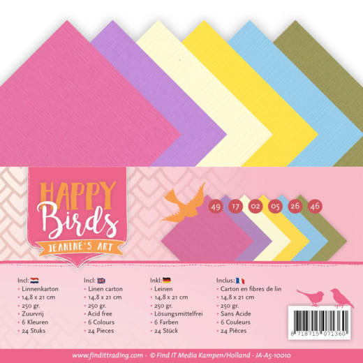Linnenpakket - A5 - Jeanine's Art - Happy Birds