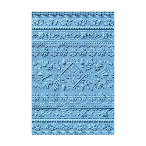 Sizzix 3-D Textured Impressions Embossing Folder Folk Art Pattern 663613 Courtney Chilson