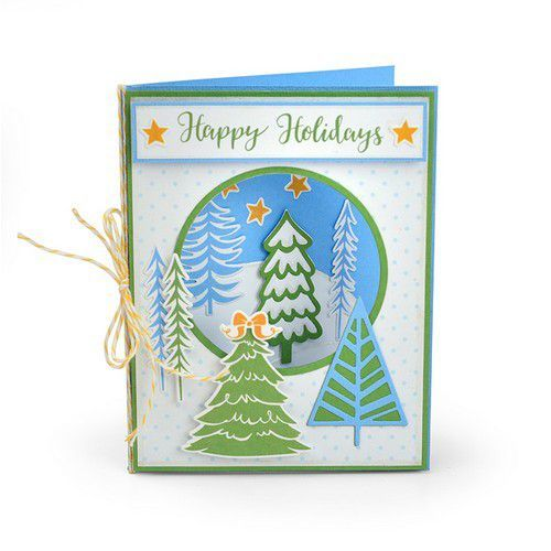 Sizzix Framelits Die Set With Stamp - Winter Trees 663684 Jordan Caderao
