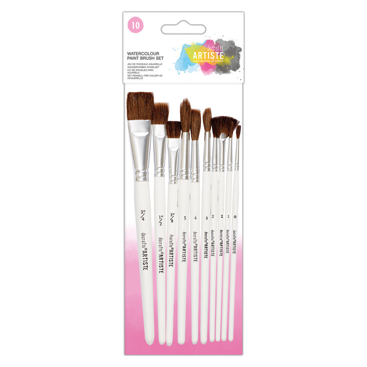 Watercolour Paint Brush Set (10pk)