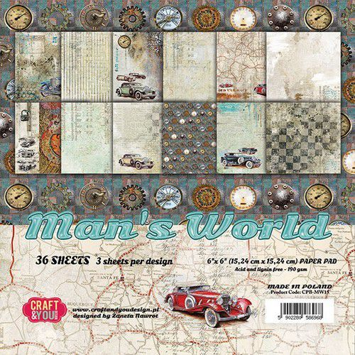 Craft&You Man's World Small Paper Pad 6x6 36 vel CPB-MAN15 (02-20)