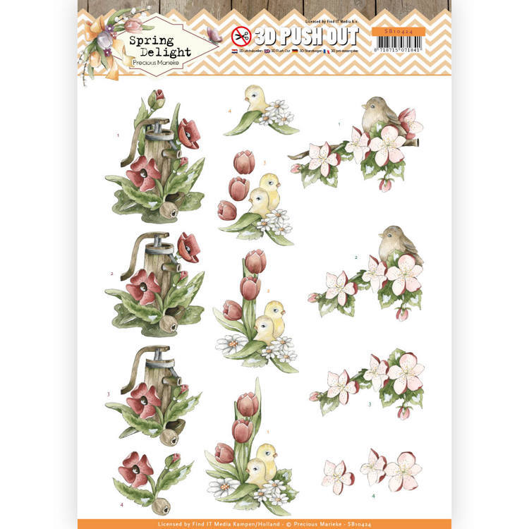 3D Pushout - Precious Marieke - Spring Delight - Red Flowers