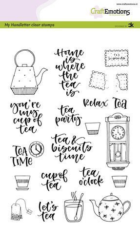 CraftEmotions stempels Handletter Tea Time (Eng)