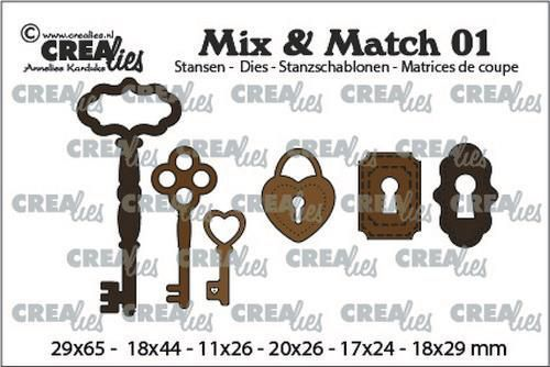 Crealies mallen Mix & Match 3x sleutels+ 2x slot+ 1x hangslot CLMix01 29x65 - 11x26mm (03-20)