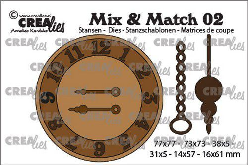 Crealies mallen Mix & Match klok met ketting en slinger CLMix02 31x5 - 77x77mm (03-20)