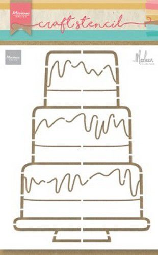 Marianne Design Craft Stencil PS8057 Party cake by Marleen