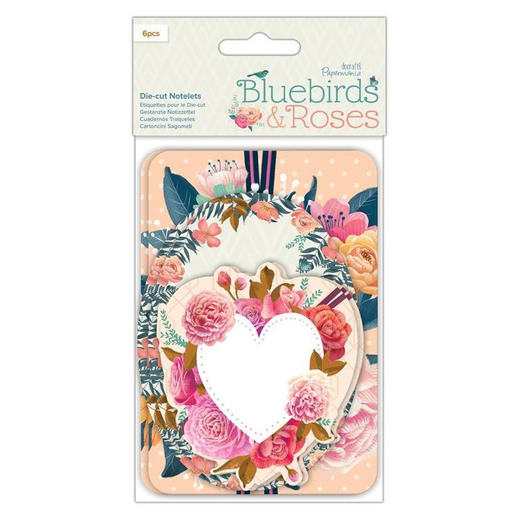 Die-cut Notelets (6pcs) - Bluebirds & Roses