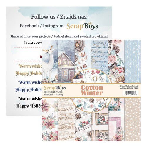 ScrapBoys Cotton Winter paperpad 24 vl+cut out elements-DZ COWI-09 190gr 15,2cmx15,2cm (03-20)