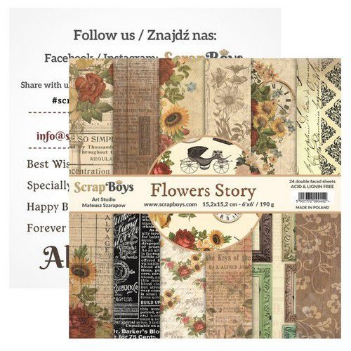 ScrapBoys Flowers Story paperpad 24 vl+cut out elements-DZ   FLST-09 190gr 15,2cmx15,2cm (03-20)