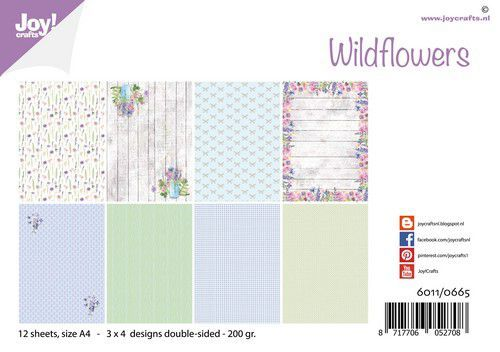 Joy! Crafts Papierset - Design - Wild flowers A4 -12 vel - 200 gr (06-20)