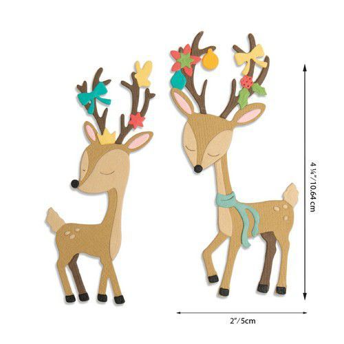 Sizzix Thinlits mallen 664448 Christmas Deer 10PK Jen Long (07-20)