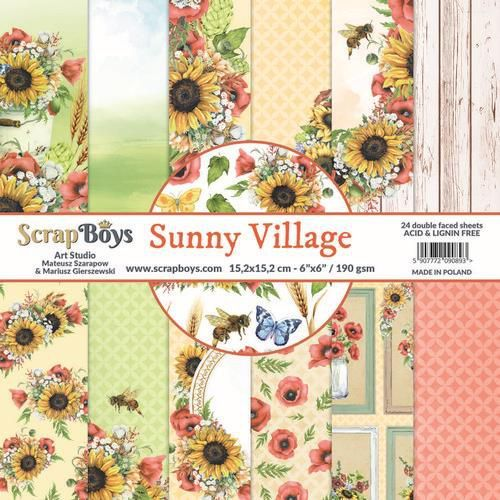 ScrapBoys Sunny Village paperpad 24 vl+cut out elements-DZ SUVI-09 190gr 15,2 x 15,2cm (07-20)