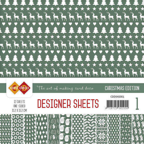 Card Deco - Designer Sheets -  Christmas Edition - kerstgroen