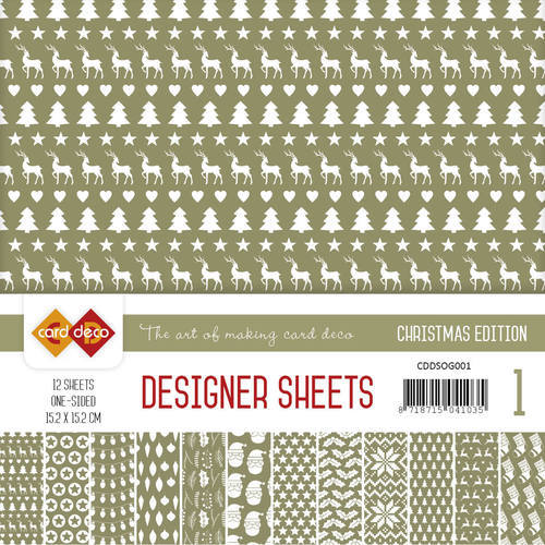 Card Deco - Designer Sheets -  Christmas Edition - olijfgroen