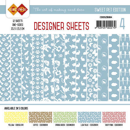 Card Deco - Designer Sheets -Sweet Pet- Zachtblauw