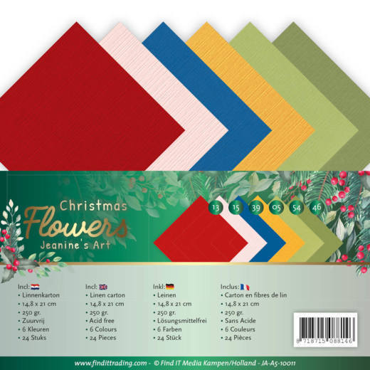 Linen Cardstock Pack - A5 - Jeanines Art  Christmas Flowers