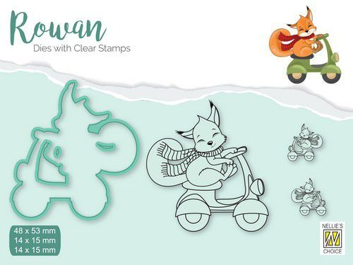 Nellies Choice Rowan Dies&clear stamp sets - Kerst Vos RDCS004 (09-20)