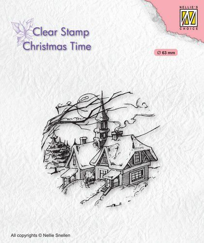 Nellies Choice stempel Christmas Time Besneeuwd Huis (09-20)
