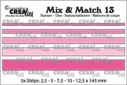 Crealies Mix & Match strips met dots (5x) CLMix13 max. 12,5x145 mm (10-20)