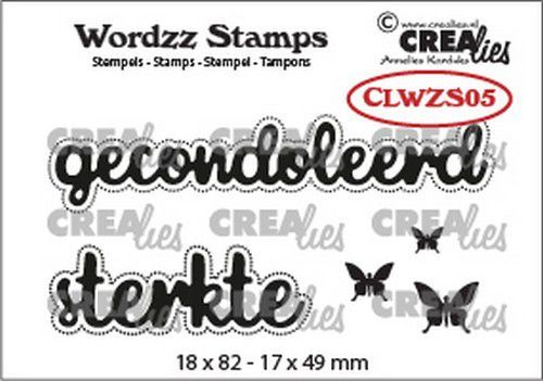 Crealies Clearstamp Wordzz Gecondoleerd sterkte (NL) CLWZS05 18x82mm (11-20)