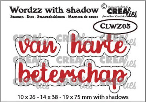 Crealies mallen Wordzz with Shadow van Harte beterschap (NL) CLWZ03