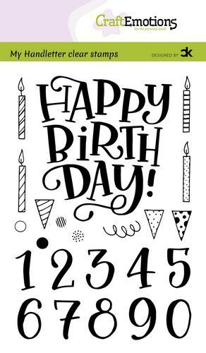 CraftEmotions stempels A6 - handletter - Happy Brithday & numbers (Eng) Carla Kamphuis