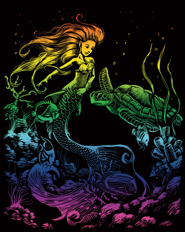 RAINBOW ENGRAVING MERMAID