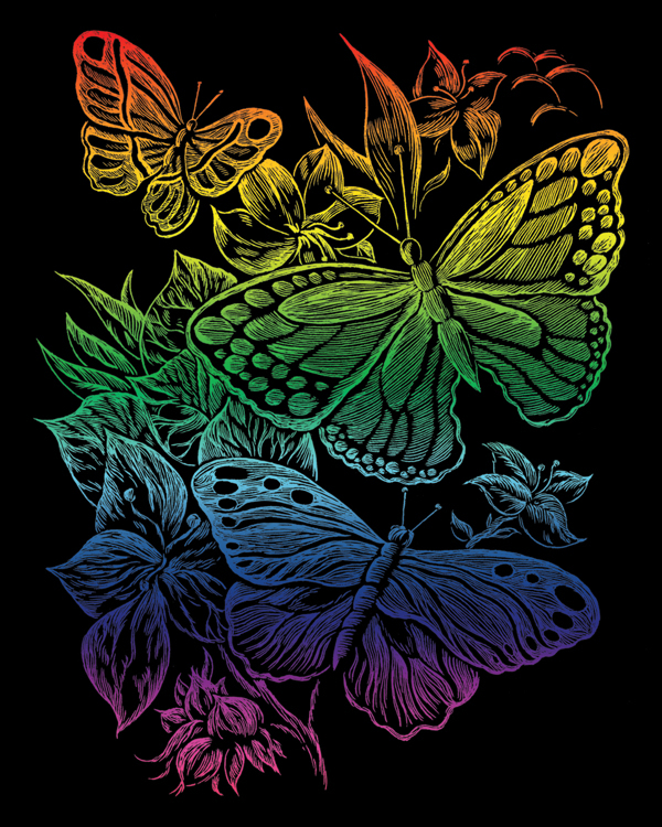 RAINBOW ENGRAVING BUTTERFLIES