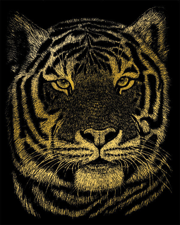 GOLD ENGRAVING BENGAL TIGER