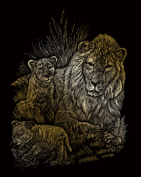 GOLD ENGRAVING LION & CUBS